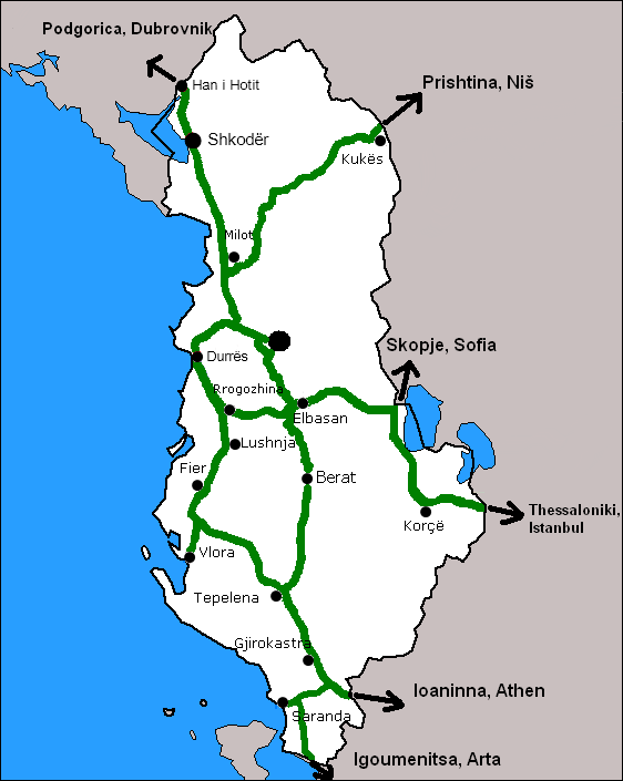 Rete Autostradale in Albania.