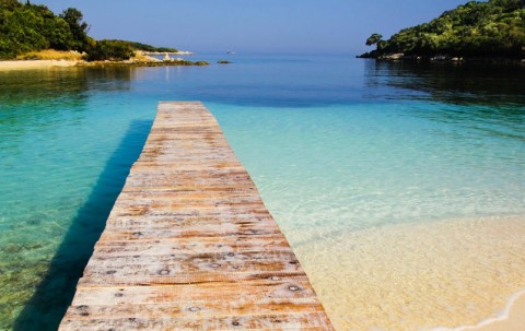 Bellissima vista sulla spiaggia di Ksamil - Saranda - Albania.