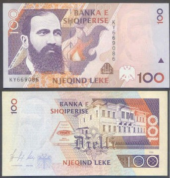 Banconota da 100lek. Fronte-Fan Stilian Noli / Retro-Primo parlamento albanese