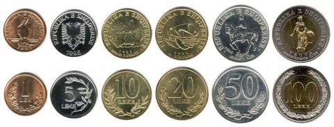 Moneta Albanese - Lek: Tutte le monete Albanesi in ordine di grandezza (vista fronte e retro).
