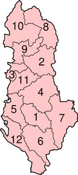 Regioni dell'Albania. Fonte: wikipedia