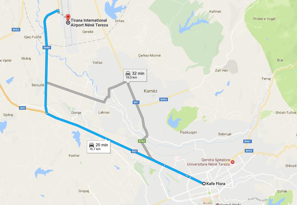 Autobus aeroporto Tirana - Distanza Rinas - Tirana
